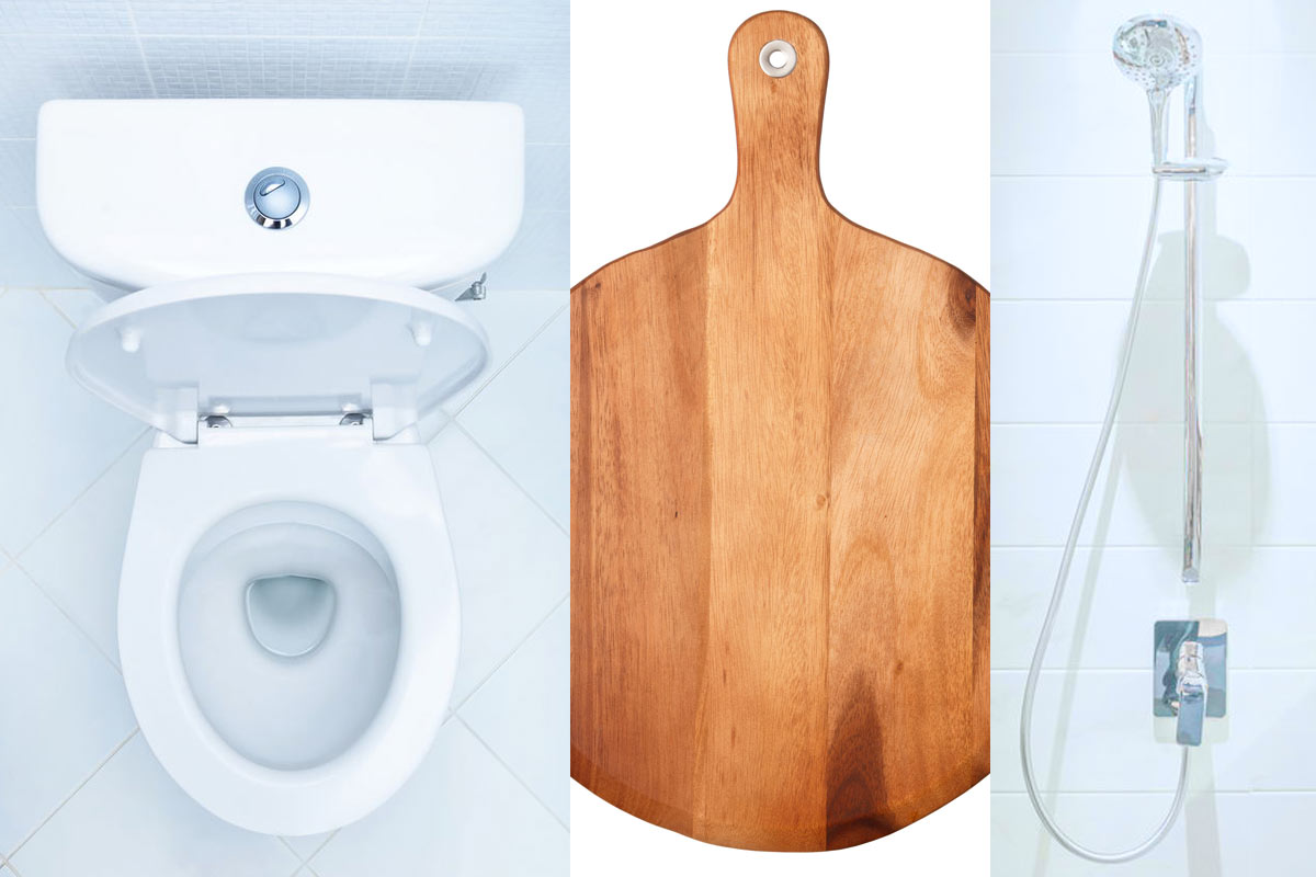 Featured image: clean toilet, cutting board, shower
