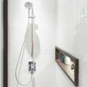 Clean white tile shower